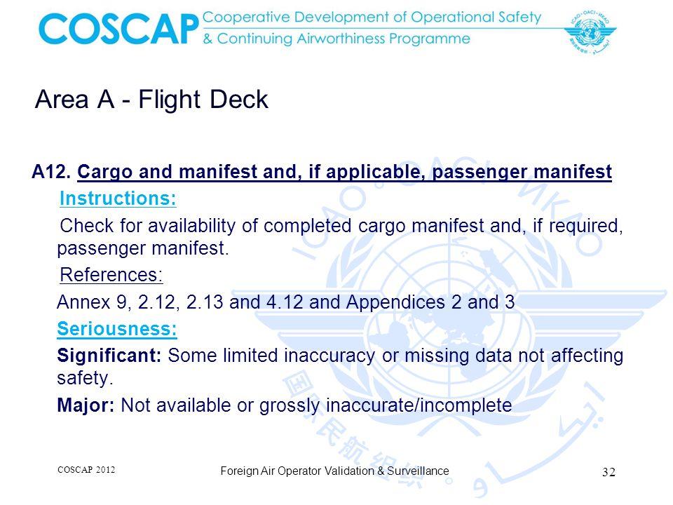 32 Area A - Flight Deck Foreign Air Operator Validation & Surveillance A12.