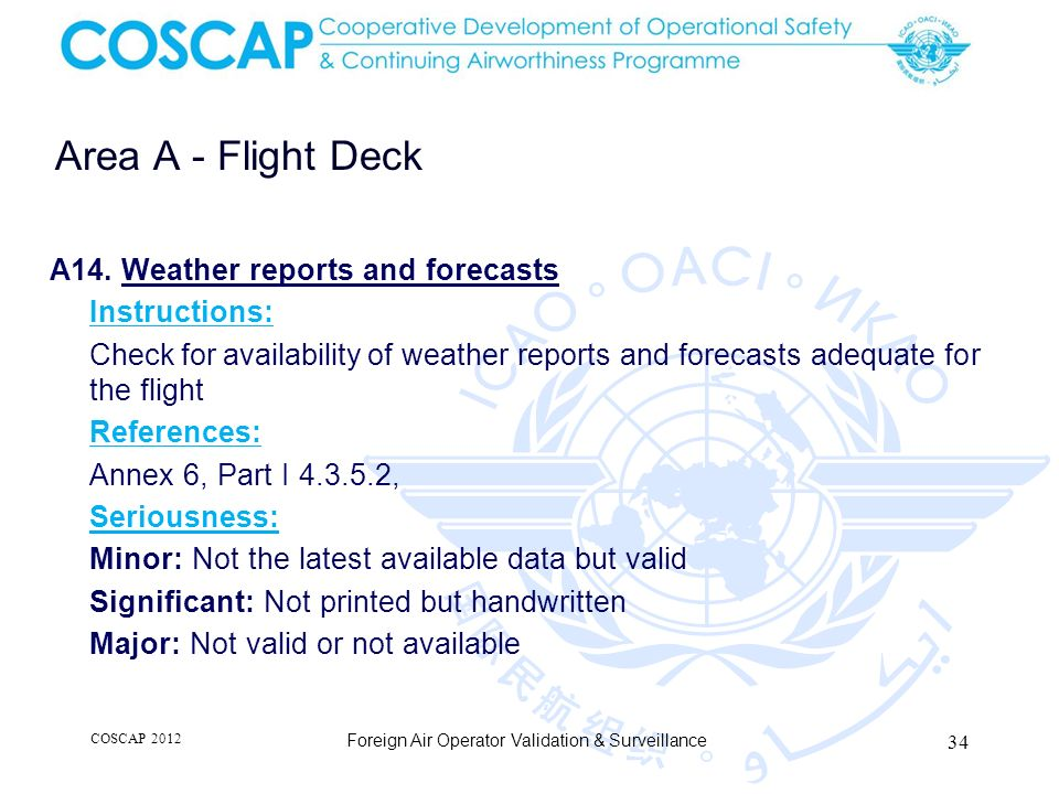 34 Area A - Flight Deck Foreign Air Operator Validation & Surveillance A14.