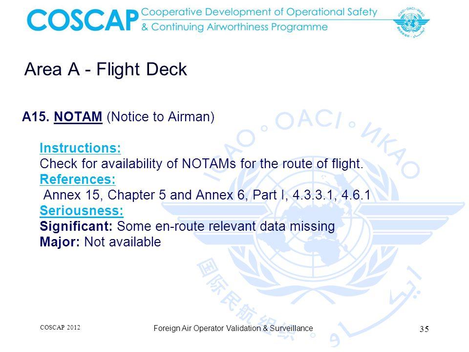 35 Area A - Flight Deck Foreign Air Operator Validation & Surveillance A15.