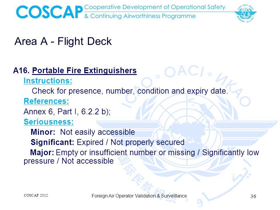 36 Area A - Flight Deck Foreign Air Operator Validation & Surveillance A16.