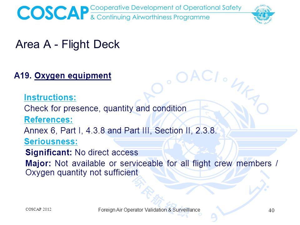 40 Area A - Flight Deck Foreign Air Operator Validation & Surveillance A19.