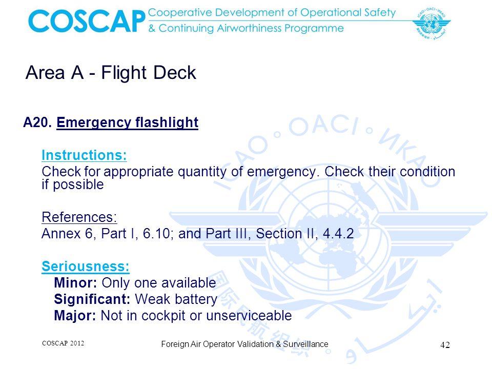 42 Area A - Flight Deck Foreign Air Operator Validation & Surveillance A20.