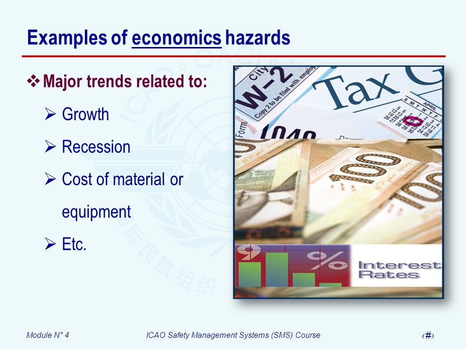 Module N° 4ICAO Safety Management Systems (SMS) Course 11 Examples of economics hazards Major trends related to: Growth Recession Cost of material or equipment Etc.