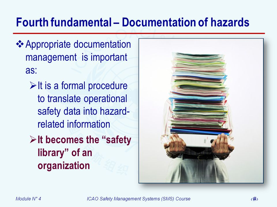 Module N° 4ICAO Safety Management Systems (SMS) Course 20 Fourth fundamental – Documentation of hazards Appropriate documentation management is important as: It is a formal procedure to translate operational safety data into hazard- related information It becomes the safety library of an organization