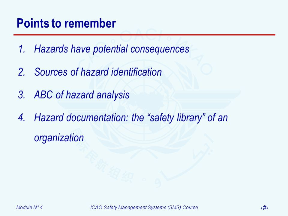 Module N° 4ICAO Safety Management Systems (SMS) Course 28 Points to remember 1.Hazards have potential consequences 2.Sources of hazard identification 3.ABC of hazard analysis 4.Hazard documentation: the safety library of an organization