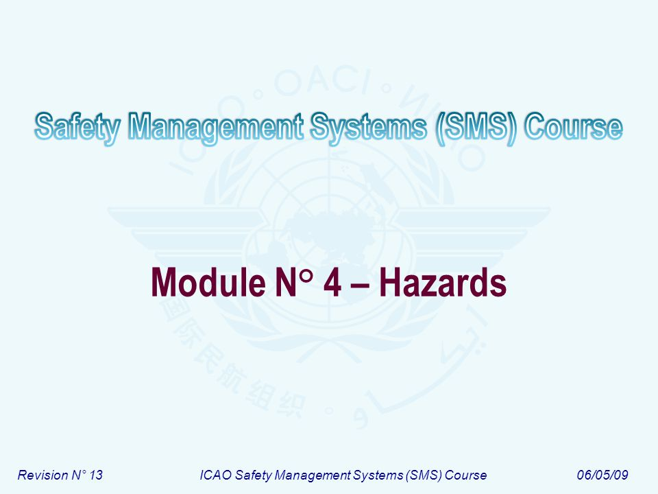 Revision N° 13ICAO Safety Management Systems (SMS) Course06/05/09 Module N° 4 – Hazards