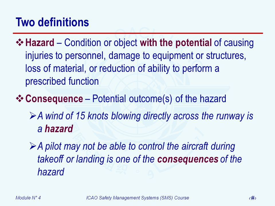 Module N° 4ICAO Safety Management Systems (SMS) Course 5 Two definitions Hazard – Condition or object with the potential of causing injuries to personnel, damage to equipment or structures, loss of material, or reduction of ability to perform a prescribed function Consequence – Potential outcome(s) of the hazard A wind of 15 knots blowing directly across the runway is a hazard A pilot may not be able to control the aircraft during takeoff or landing is one of the consequences of the hazard