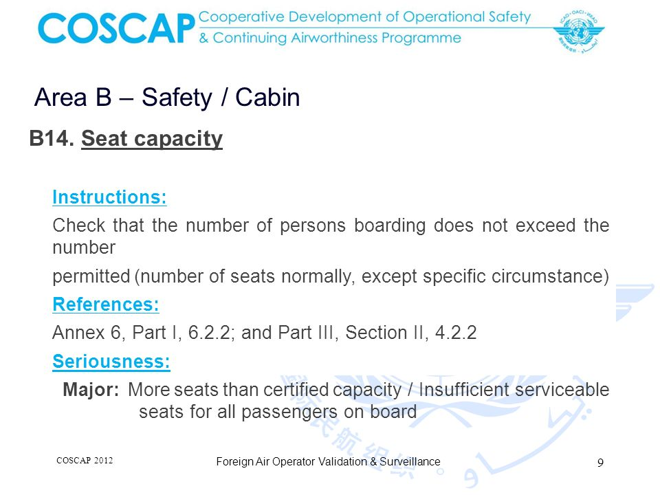 9 Area B – Safety / Cabin Foreign Air Operator Validation & Surveillance B14. Seat capacity Instructions: Check that the number of persons boarding do