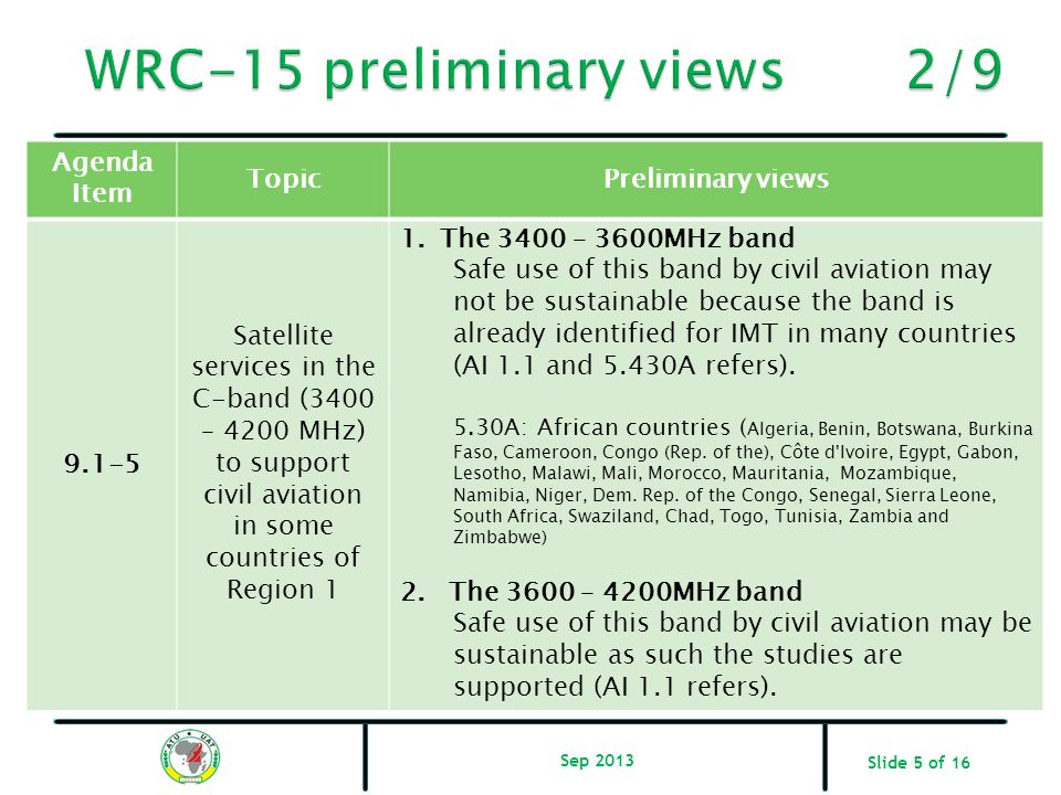 Slide 5 of 16 Agenda Item TopicPreliminary views 9.1-5 Satellite services in the C-band (3400 – 4200 MHz) to support civil aviation in some countries