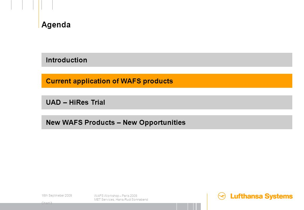 15th Septmeber 2009 Chart 1 WAFS Workshop – Paris 2009 MET Services, Hans-Rudi Sonnabend Agenda Introduction Current application of WAFS products UAD – HiRes Trial New WAFS Products – New Opportunities