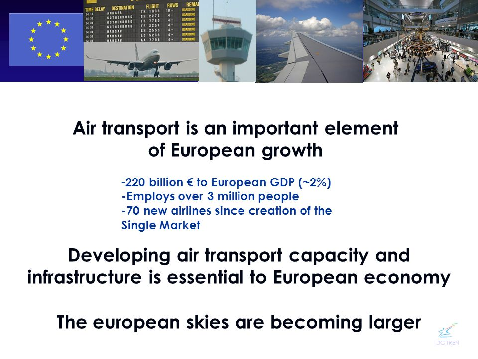 DG TREN Air transport is an important element of European growth - - 220 billion to European GDP (~2%) -Employs over 3 million people -70 new airlines