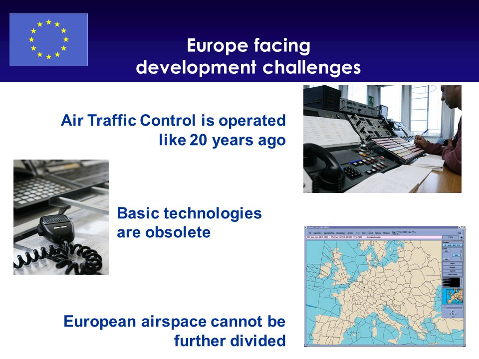 DG TREN Air Traffic Control is operated like 20 years ago Basic technologies are obsolete European airspace cannot be further divided Europe facing de