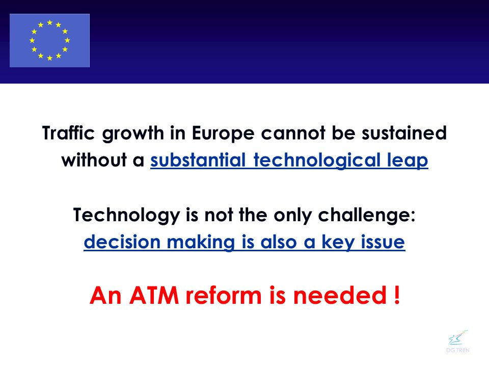 DG TREN An ATM reform is needed ! Traffic growth in Europe cannot be sustained without a substantial technological leap Technology is not the only cha