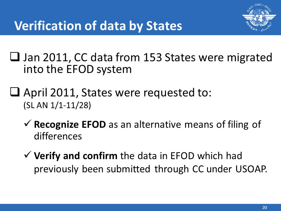 20 Verification of data by States Jan 2011, CC data from 153 States were migrated into the EFOD system April 2011, States were requested to: (SL AN 1/