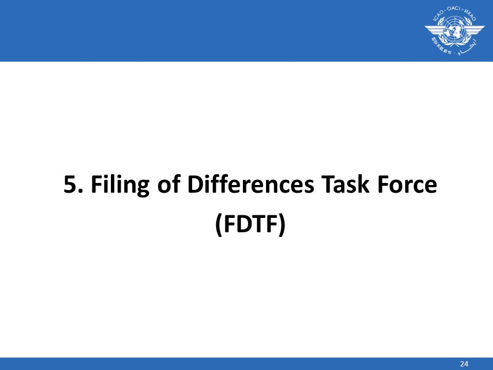24 5. Filing of Differences Task Force (FDTF)