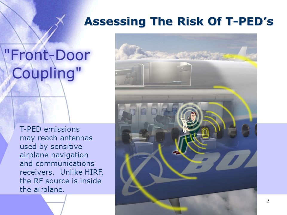 03/16/ Assessing The Risk Of T-PEDs T-PED emissions may reach antennas used by sensitive airplane navigation and communications receivers.