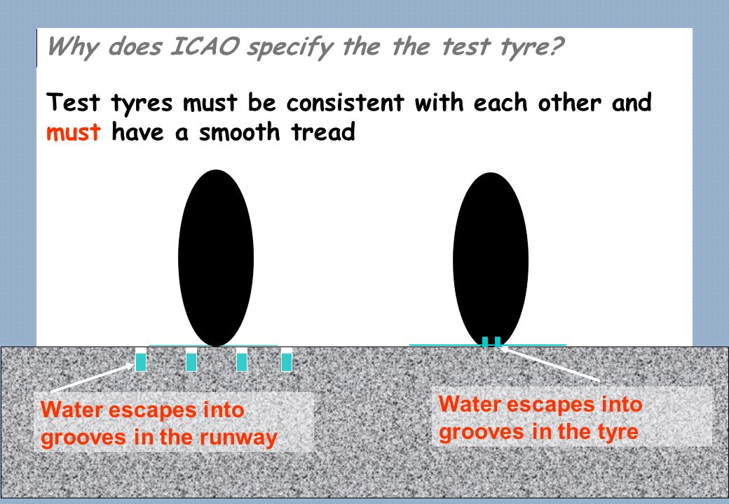 Test tyres must be consistent with each other and must have a smooth tread Why does ICAO specify the the test tyre.