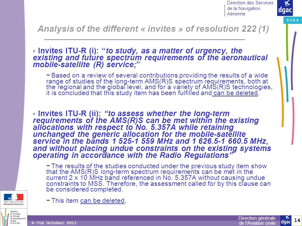 14 Direction générale de lAviation civile Direction des Services de la Navigation Aérienne 6-7th October 2011 Analysis of the different « invites » of resolution 222 (1) Invites ITU-R (i): to study, as a matter of urgency, the existing and future spectrum requirements of the aeronautical mobile-satellite (R) service; Based on a review of several contributions providing the results of a wide range of studies of the long-term AMS(R)S spectrum requirements, both at the regional and the global level, and for a variety of AMS(R)S technologies, it is concluded that this study item has been fulfilled and can be deleted.