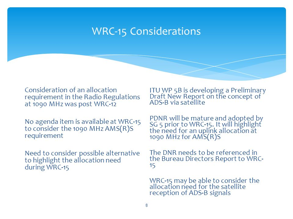 WRC-15 Considerations Consideration of an allocation requirement in the Radio Regulations at 1090 MHz was post WRC-12 No agenda item is available at W