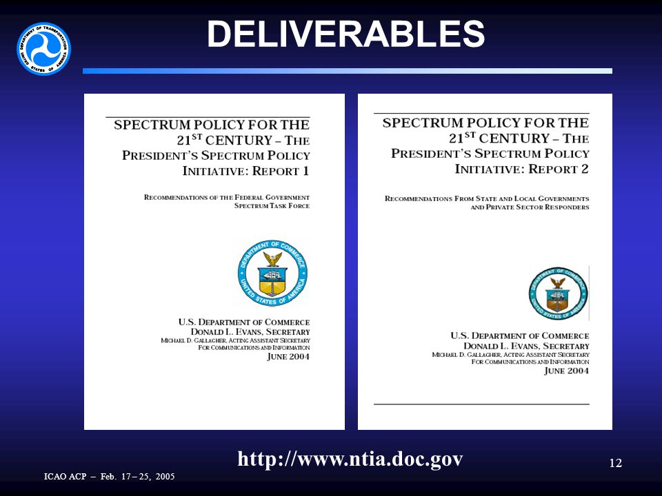 ICAO ACP – Feb. 17 – 25, 2005 12 DELIVERABLES http://www.ntia.doc.gov