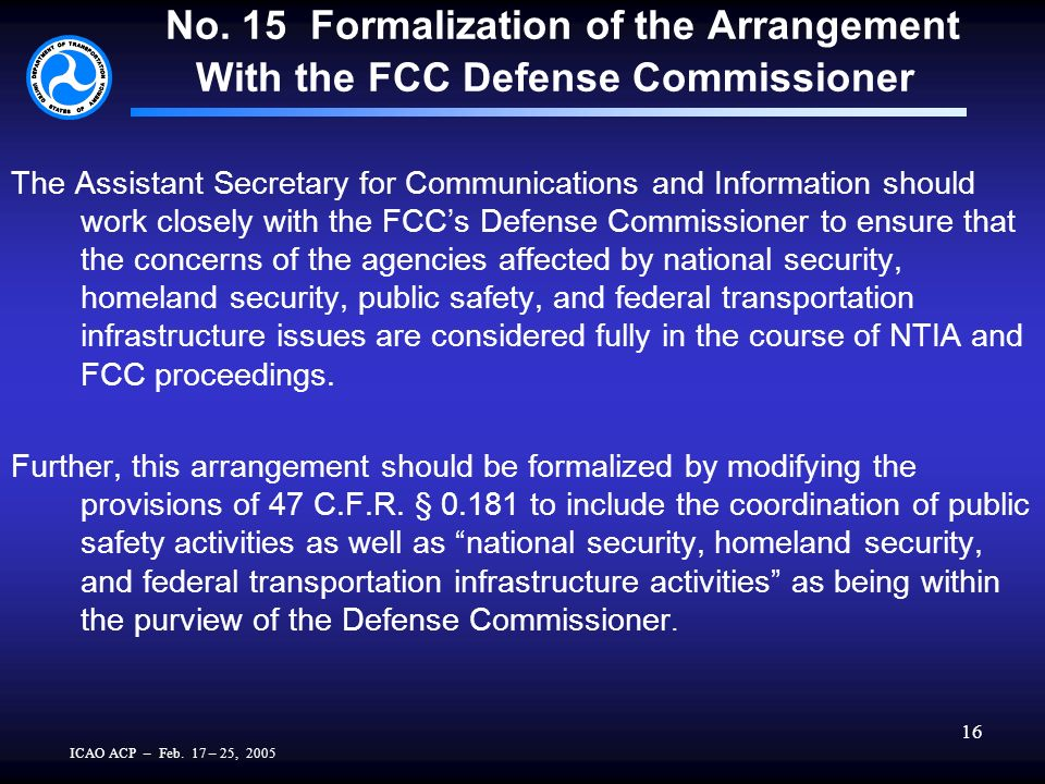 ICAO ACP – Feb. 17 – 25, 2005 16 No. 15 Formalization of the Arrangement With the FCC Defense Commissioner The Assistant Secretary for Communications