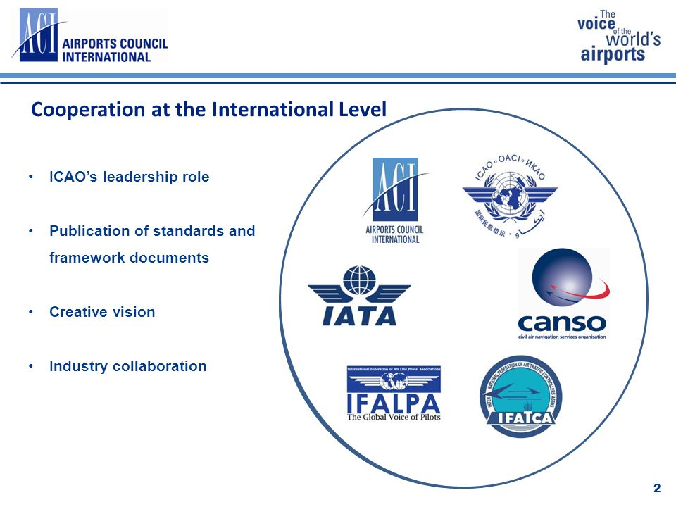 Cooperation at the International Level 2 ICAOs leadership role Publication of standards and framework documents Creative vision Industry collaboration