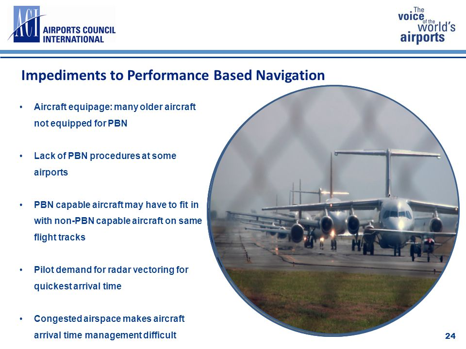 Impediments to Performance Based Navigation 24 Aircraft equipage: many older aircraft not equipped for PBN Lack of PBN procedures at some airports PBN capable aircraft may have to fit in with non-PBN capable aircraft on same flight tracks Pilot demand for radar vectoring for quickest arrival time Congested airspace makes aircraft arrival time management difficult
