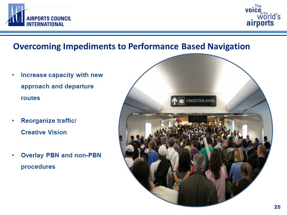 Overcoming Impediments to Performance Based Navigation 25 Increase capacity with new approach and departure routes Reorganize traffic/ Creative Vision Overlay PBN and non-PBN procedures