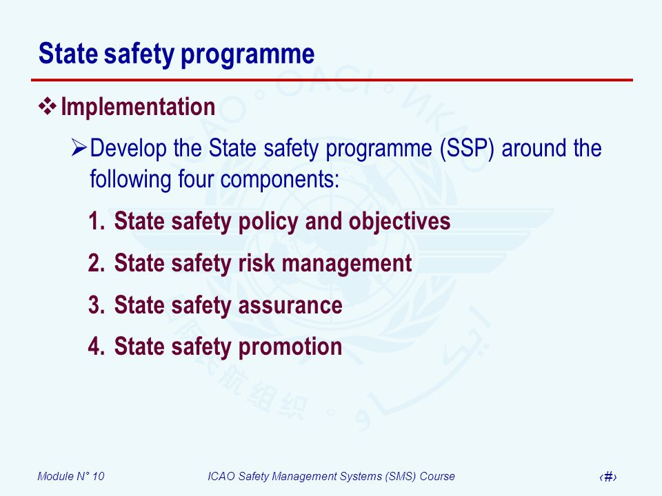 Module N° 10ICAO Safety Management Systems (SMS) Course 15 State safety programme Implementation Develop the State safety programme (SSP) around the f