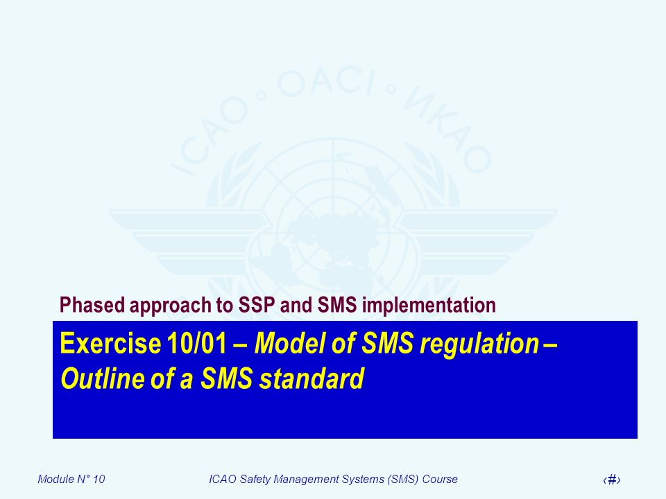 Module N° 10ICAO Safety Management Systems (SMS) Course 23 Exercise 10/01 – Model of SMS regulation – Outline of a SMS standard Phased approach to SSP