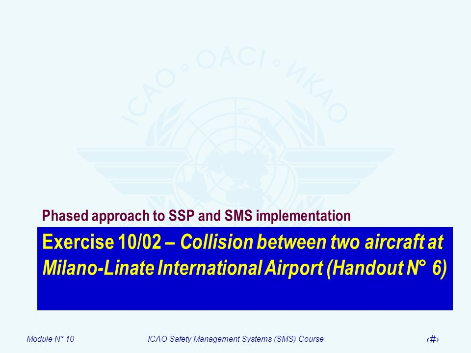 Module N° 10ICAO Safety Management Systems (SMS) Course 26 Exercise 10/02 – Collision between two aircraft at Milano-Linate International Airport (Han
