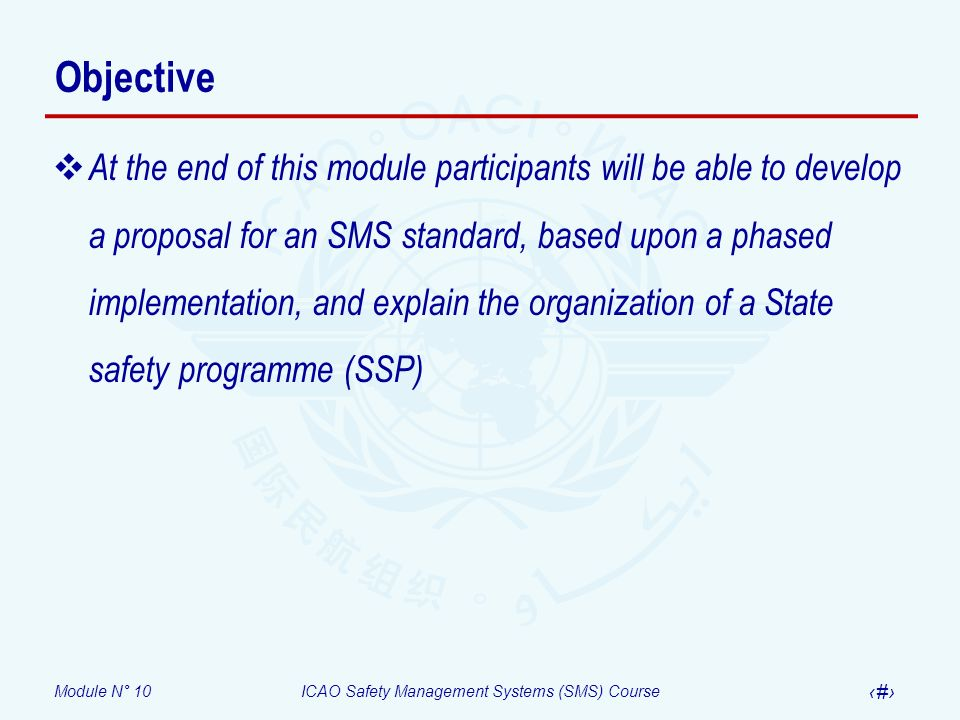 Module N° 10ICAO Safety Management Systems (SMS) Course 14 State safety programme Definition An integrated set of regulations and activities aimed at improving safety.