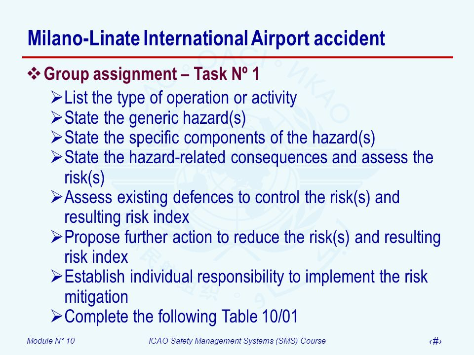 Module N° 10ICAO Safety Management Systems (SMS) Course 36 Group assignment – Task Nº 1 List the type of operation or activity State the generic hazar