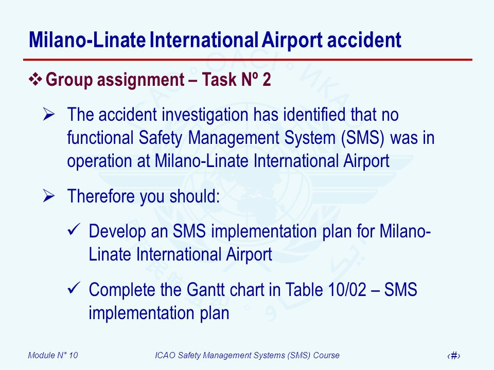 Module N° 10ICAO Safety Management Systems (SMS) Course 38 Group assignment – Task Nº 2 The accident investigation has identified that no functional S