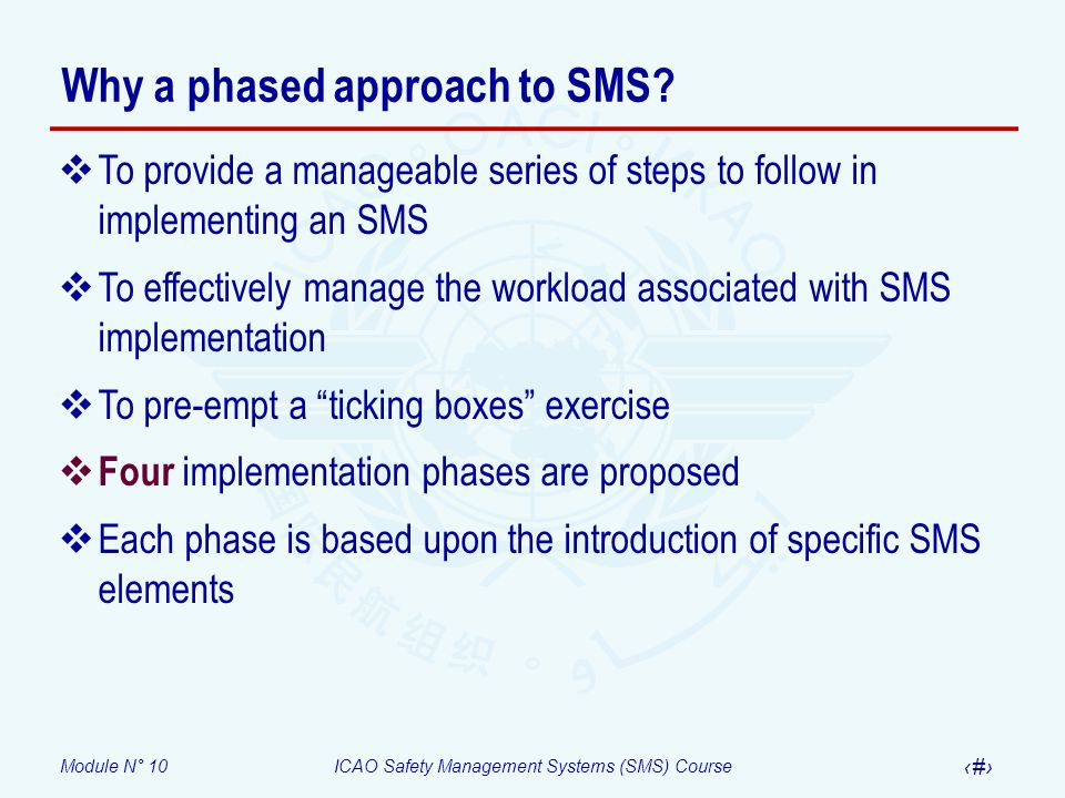 Module N° 10ICAO Safety Management Systems (SMS) Course 6 Phase 1 – Planning Provides: a blueprint on how the SMS requirements will be met and integrated to the organizations work activities, and an accountability framework for the implementation of the SMS