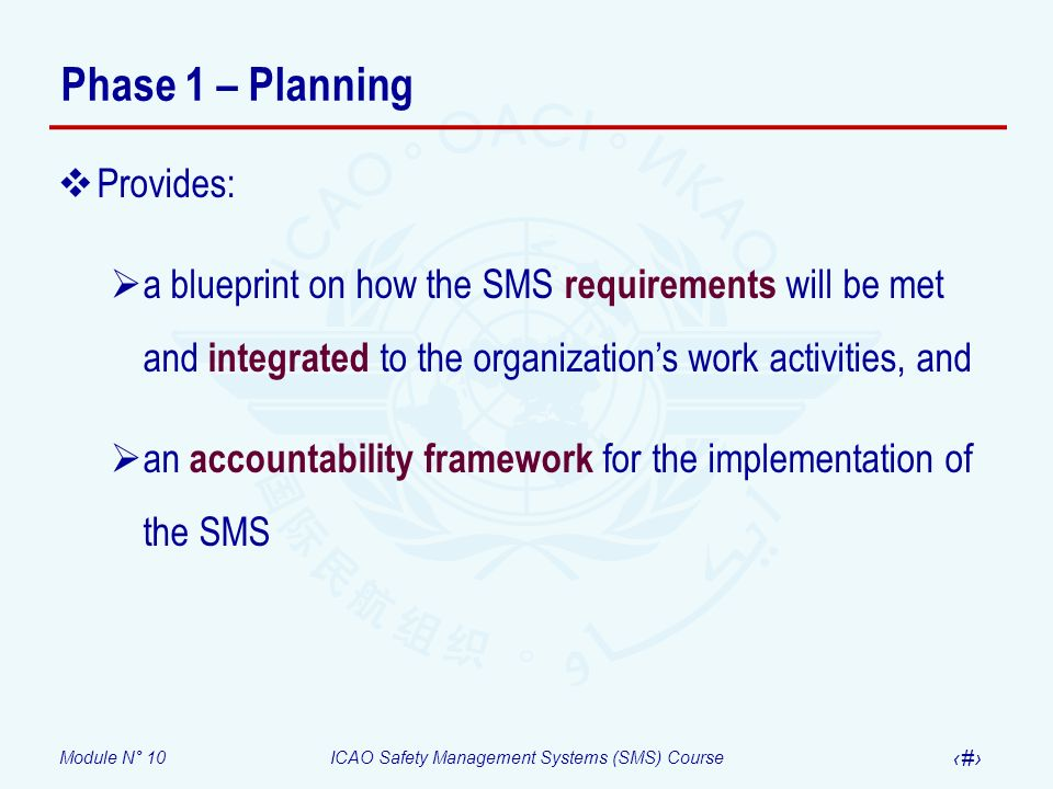 Module N° 10ICAO Safety Management Systems (SMS) Course 7 Phase 1 – Planning Elements 1.1 and 1.2 (Module 8) Elements 1.1 and 1.2 (Module 8) Element 1.3 (Module 8) Element 1.5 (Module 8) 1.Identify the Accountable Executive and the safety accountabilities of managers 2.Identify the person (or planning group) within the organization responsible for implementing the SMS 3.Describe the system (ATOs that are exposed to safety risks during the provision of their services, aircraft operators, AMOs, organizations responsible for type design and/or manufacture of aircraft, air traffic services providers and certified aerodromes) 4.Conduct a gap analysis of the organizations existing resources compared with the national and international requirements for establishing an SMS