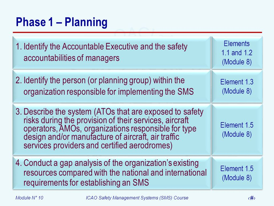 Module N° 10ICAO Safety Management Systems (SMS) Course 8 Phase 1 – Planning Element 1.5 (Module 8) Element 1.4 (Module 8) Element 1.5 (Module 8) Element 4.2 (Module 9) 5.Develop an SMS implementation plan that explains how the organization will implement the SMS on the basis of national requirements and international SARPs, the system description and the results of the gap analysis 6.Coordinate emergency response planning with similar planning of interfacing organizations 7.Develop documentation relevant to safety policy and objectives 8.Develop and establish means for safety communication
