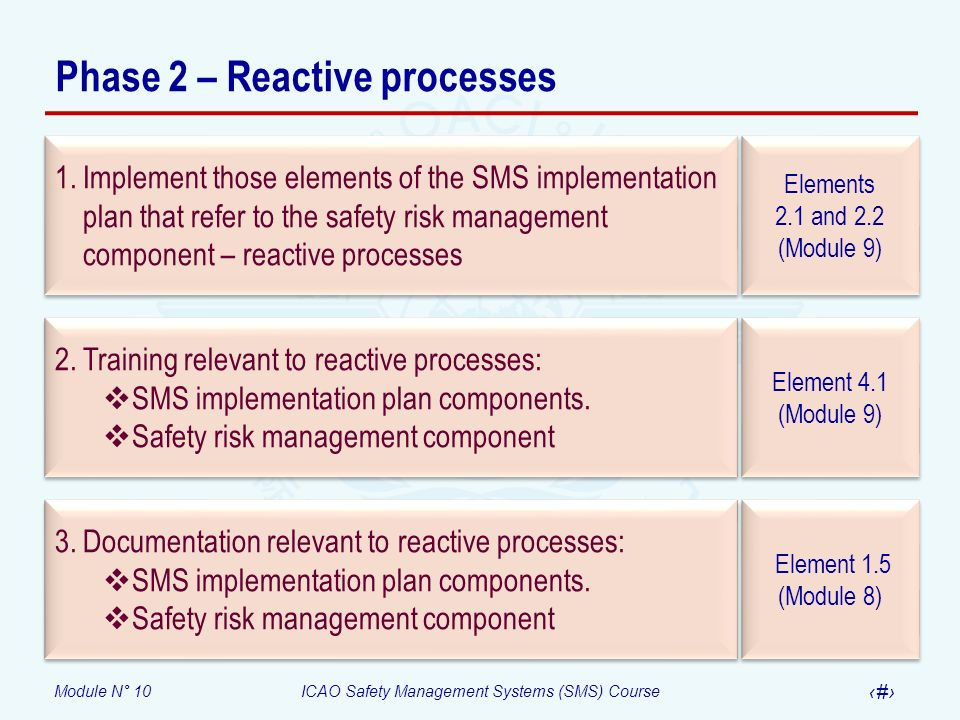 Module N° 10ICAO Safety Management Systems (SMS) Course 10 Phase 3 – Proactive and predictive processes Elements 2.1 and 2.2 (Module 9) Elements 2.1 and 2.2 (Module 9) 1.Implement those elements of the SMS implementation plan that refer to the safety risk management component – proactive and predictive processes Element 4.1 (Module 9) 2.Training relevant to proactive and predictive processes Element 1.5 (Module 8) 3.Documentation relevant to proactive and predictive processes