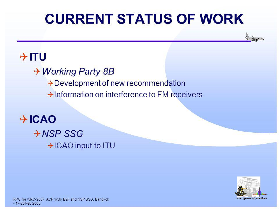 Nav, Spectrum & Surveillance RPG for WRC-2007, ACP WGs B&F and NSP SSG, Bangkok - 17-25 Feb 2005 CURRENT STATUS OF WORK ITU Working Party 8B Development of new recommendation Information on interference to FM receivers ICAO NSP SSG ICAO input to ITU