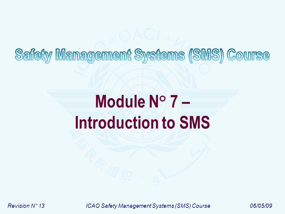 Revision N° 13ICAO Safety Management Systems (SMS) Course06/05/09 Module N° 7 – Introduction to SMS