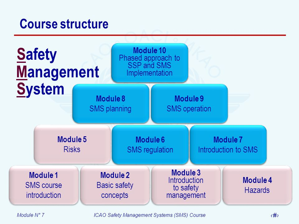 Module N° 7ICAO Safety Management Systems (SMS) Course 2 Course structure Module 1 SMS course introduction Module 1 SMS course introduction Module 2 B
