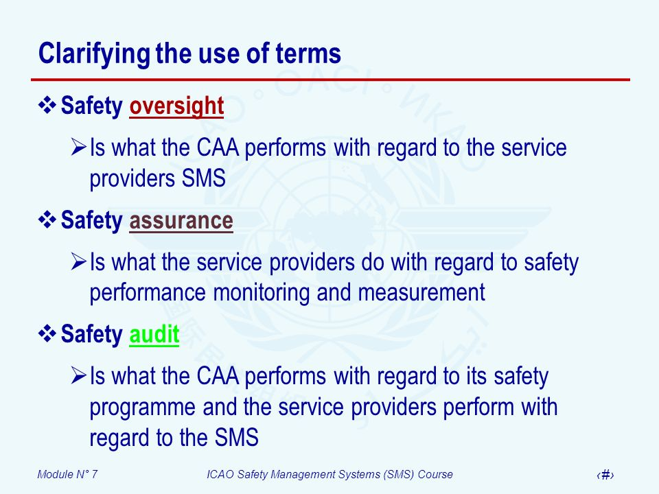 Module N° 7ICAO Safety Management Systems (SMS) Course 21 Clarifying the use of terms Safety oversight Is what the CAA performs with regard to the ser