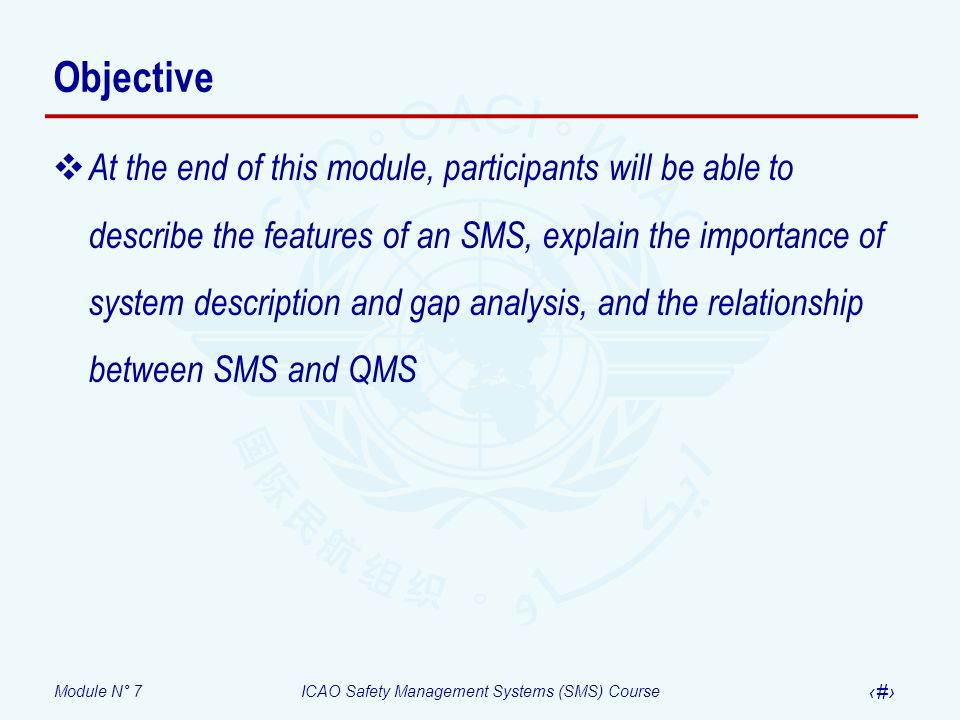 Module N° 7ICAO Safety Management Systems (SMS) Course 3 Objective At the end of this module, participants will be able to describe the features of an