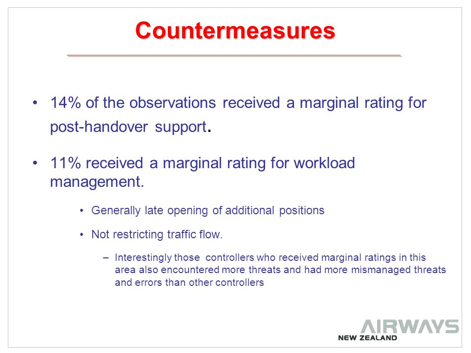 Countermeasures 14% of the observations received a marginal rating for post-handover support.