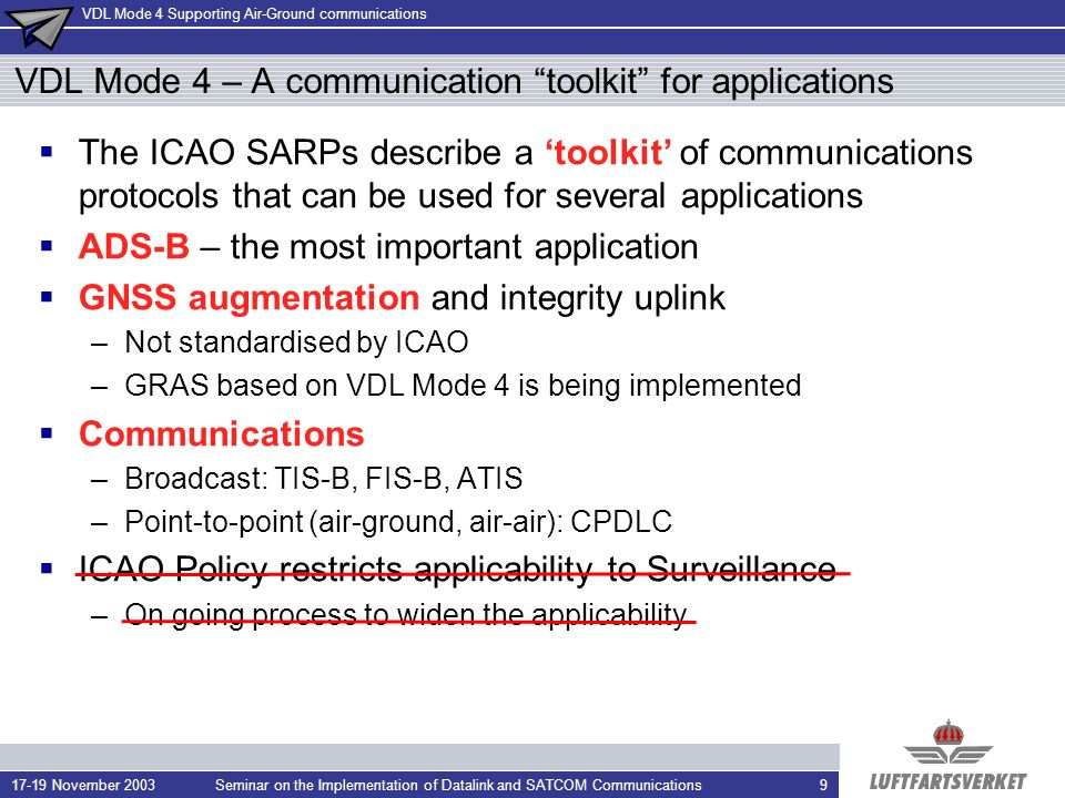 VDL Mode 4 Supporting Air-Ground communications 17-19 November 2003Seminar on the Implementation of Datalink and SATCOM Communications10 VDL Mode 4 fundamentals Access to the datalink is distributed (i.e.