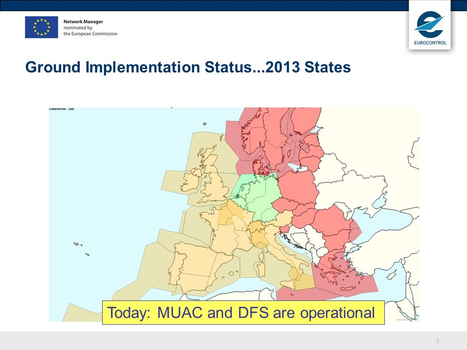 5 Ground Implementation Status...2013 States Today: MUAC and DFS are operational