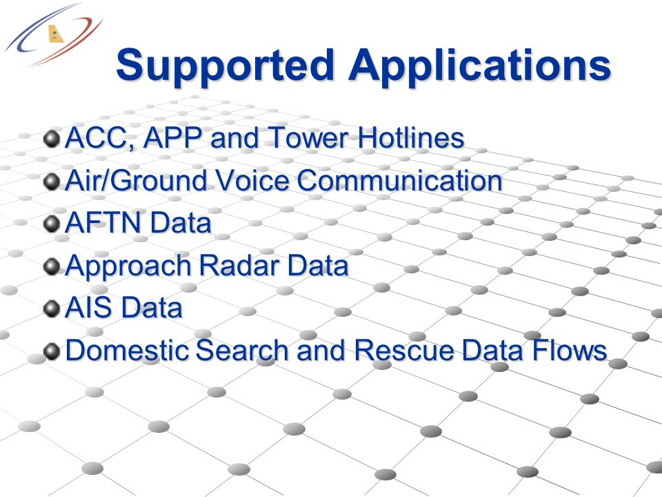 Supported Applications ACC, APP and Tower Hotlines Air/Ground Voice Communication AFTN Data Approach Radar Data AIS Data Domestic Search and Rescue Da