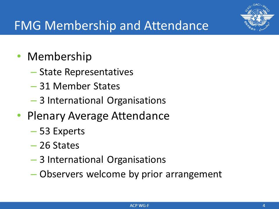 4 FMG Membership and Attendance Membership – State Representatives – 31 Member States – 3 International Organisations Plenary Average Attendance – 53