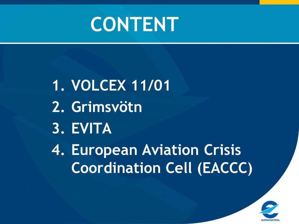 1.VOLCEX 11/01 2.Grimsvötn 3.EVITA 4.European Aviation Crisis Coordination Cell (EACCC) CONTENT