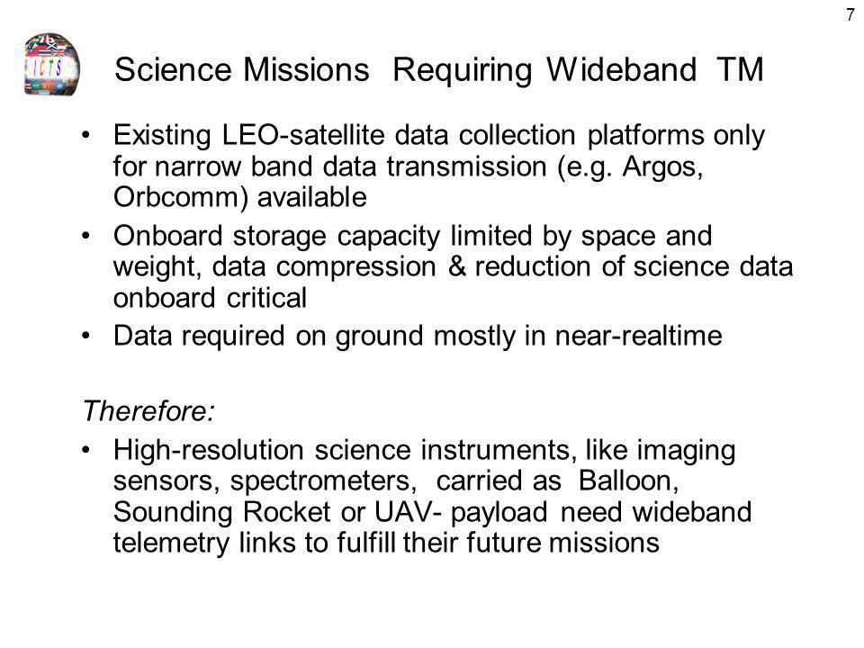 7 Science Missions Requiring Wideband TM Existing LEO-satellite data collection platforms only for narrow band data transmission (e.g. Argos, Orbcomm)